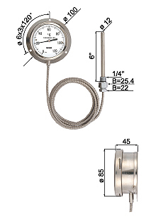 Electric Contact Thermometers for Bottom Mounted Capillaries Connection