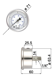 All Stainless Steel Filled Pressure Gauges