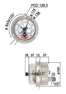 All Stainless Steel Pressure Gauge with Magnetic Contact