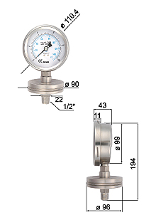 Bottom Flange with Diaphragm Pressure Gauges-2