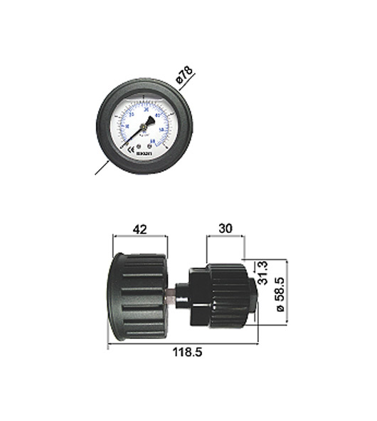 PP Filled Diaphragm Pressure Gauges